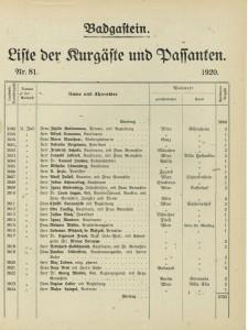 Liste der Kurgäste 1920